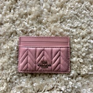 New! Coach pink quilted Card Holder